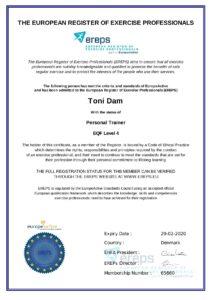 Europæiske Register for Fitnessprofessionelle (EREPS)